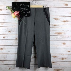 Cache gray black lace trim wide leg capri pants